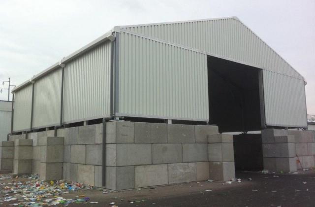 Modulobloc stapelbare betonblokken dakconstructie